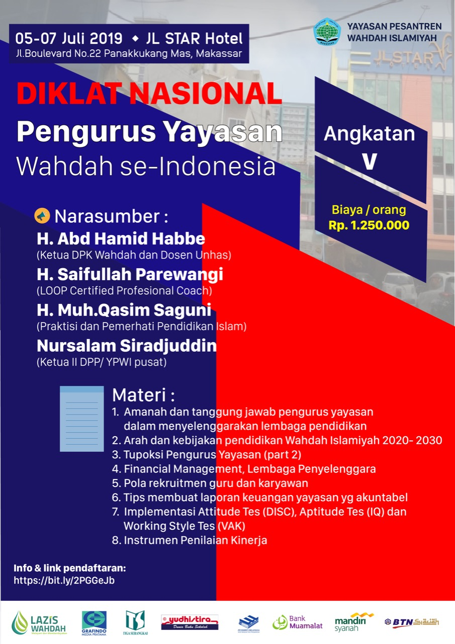 DIKLAT NASIONAL Penyelenggara Pendidikan Yayasan Angkatan ke-V (05-07 Juli 2019)