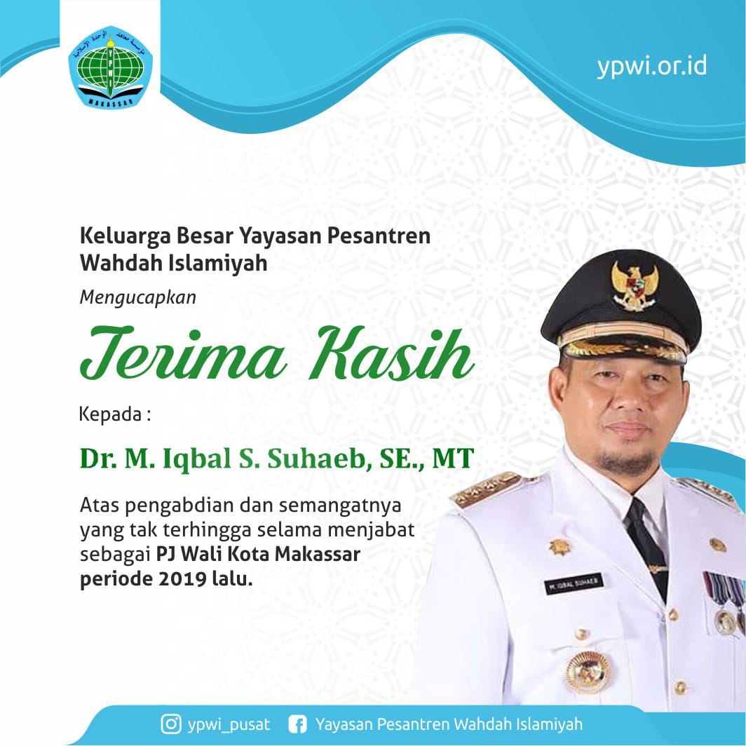Terima kasih kepada bapak Dr. M. Iqbal S. Suhaeb, SE., MT selaku Pelaksana Tugas Wali Kota Makassar periode 2019