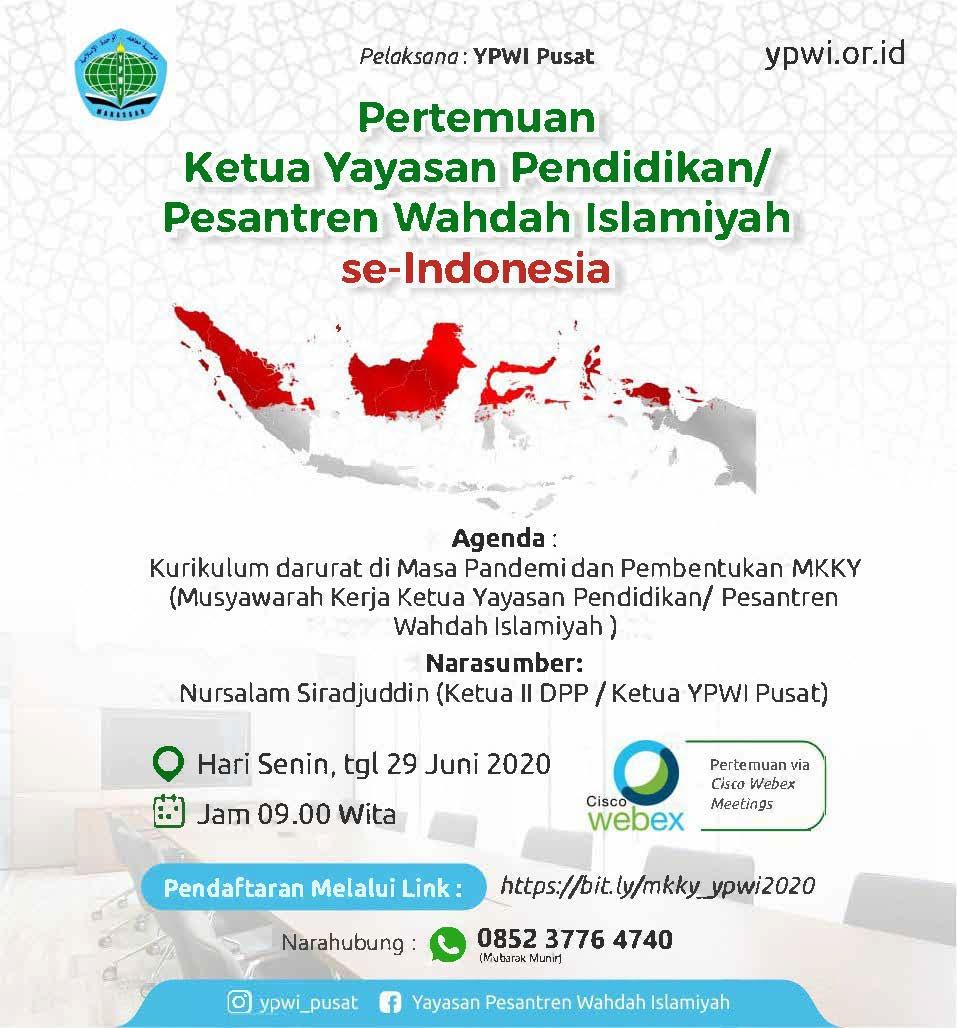 YPWI Pusat adakan Pertemuan Ketua Yayasan Pendidikan/ Pesantren Wahdah Islamiyah se-Indonesia melalui Cisco Webex